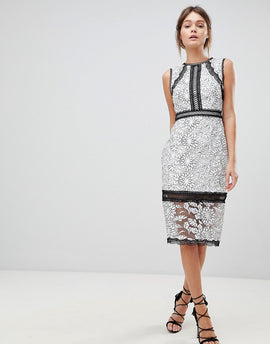 Forever New Lace Pencil Dress in Mono - Black/porcelain