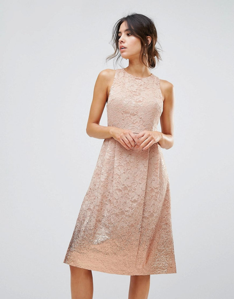Warehouse Foil Lace Dress - Beige