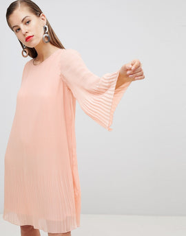 Y.A.S All Over Pleated Shift Dress - Pink