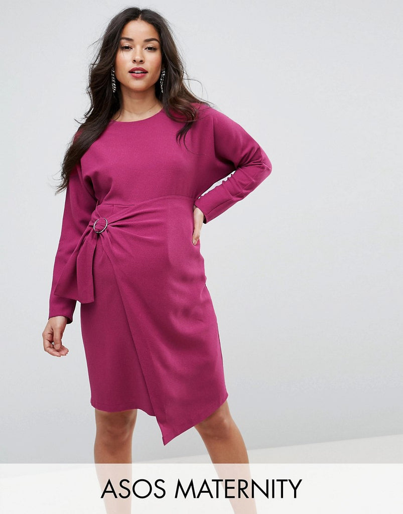 ASOS Maternity Batwing Mini Dress with Wrap Skirt - Purple