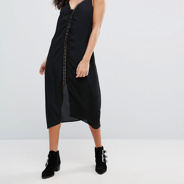 Goldie Trippin Chiffon Midi Length Slip Dress With Lace Up Front Detail - Black