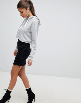 Noisy May Denim Skirt With Lace Up Detail - Black