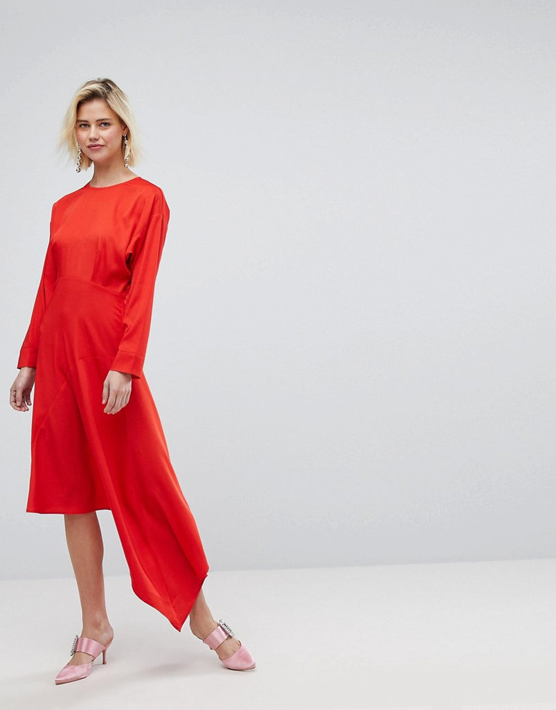 Warehouse Asymmetric Hem Midi Dress - Red