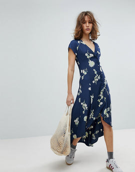 Free People Lost In You High Low Midi Dress - Blue combo