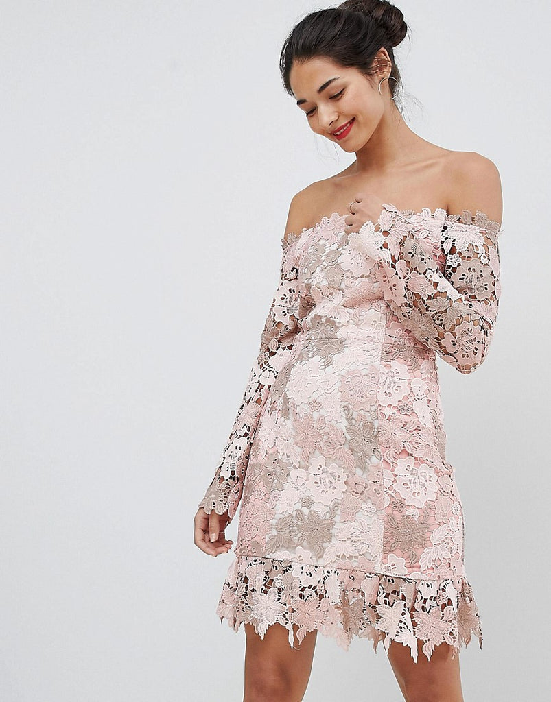 Elliatt Bardot Tonal Lace Mini Dress - Tonal blush