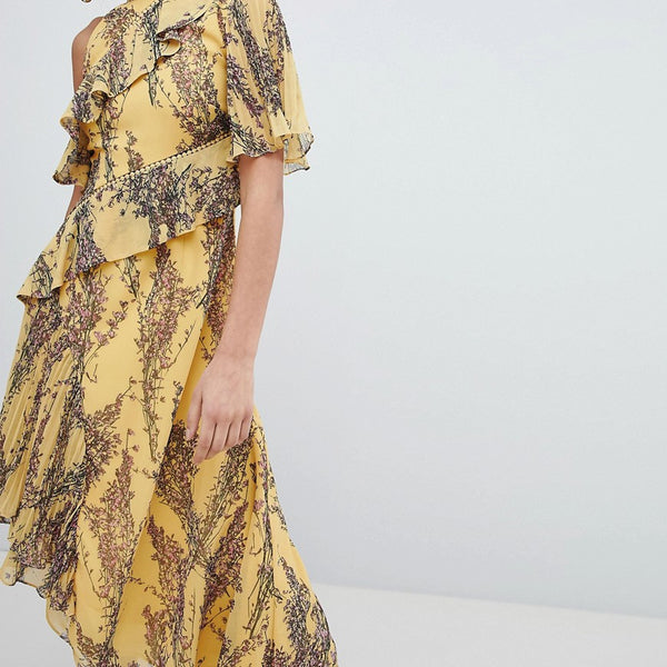 Keepsake Floral Asymmetrical Dress - Golden wildflower