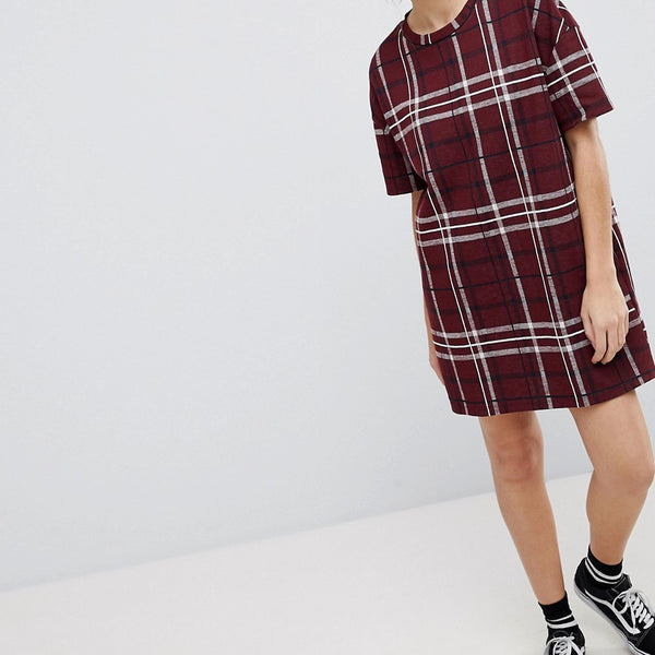 Pull&Bear Check Tunic Dress - Red