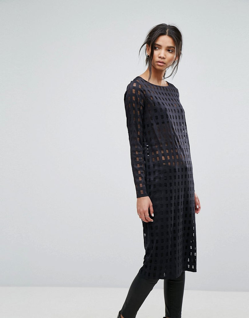 Dr Denim Panel Detail Dress - Black grid