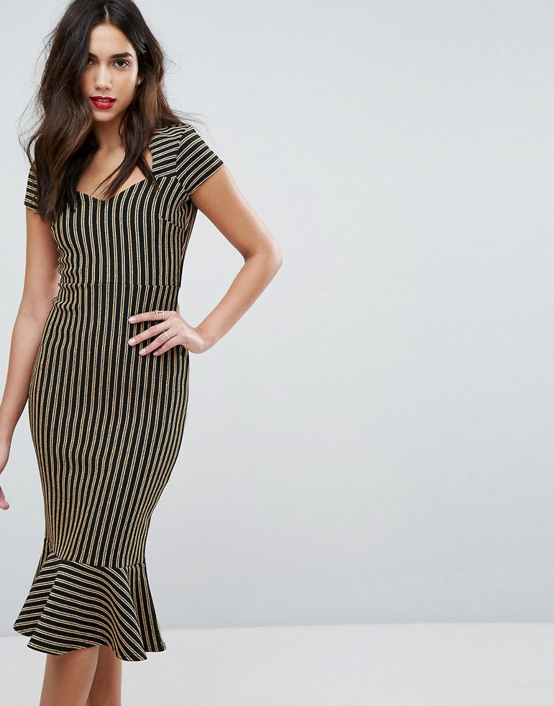 Outrageous Fortune Sweetheart Midi Pencil Dress With Peplum Hem - Gold stripe