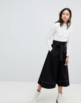 Kowtow Audition Midi Skirt with Contrast Stitching in Organic Cotton - Black