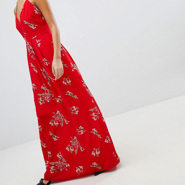 Parisian Floral Cami Maxi Dress - Red
