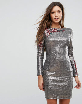 Little Mistress Allover Sequin Bodycon Dress With Floral Lace Applique - Silver