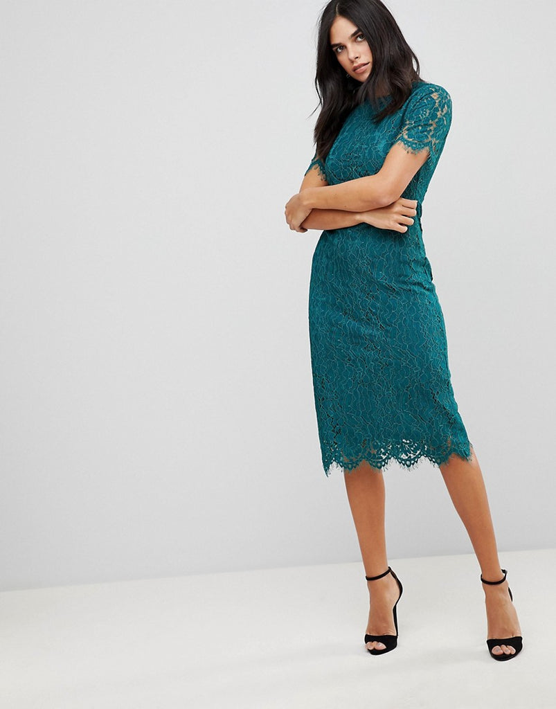 Club L Detailed Midi Dress With Lace Overlay - Teal