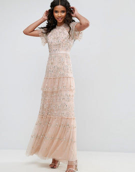 Needle & Thread Constellation Lace Gown - Petal pink