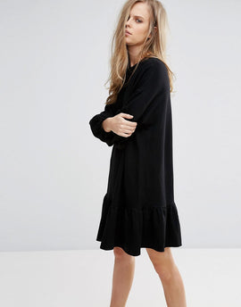 Pull&Bear Frill Hem Shift Dress - Black