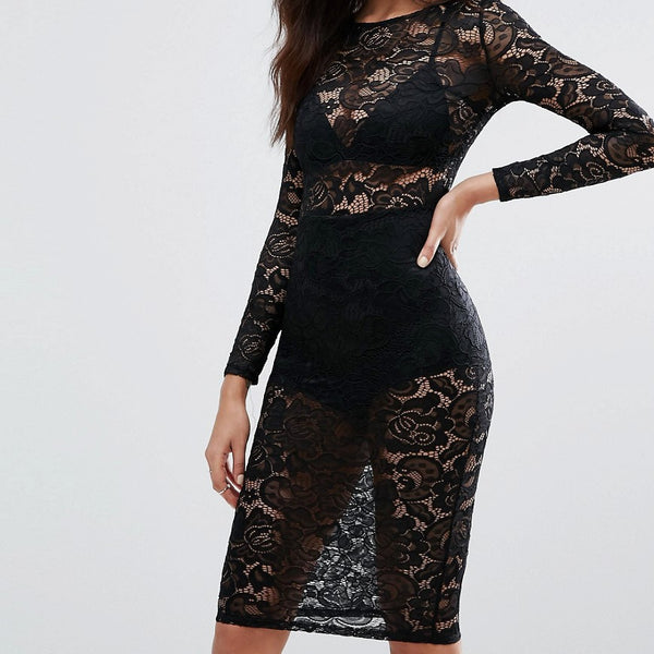 Misha Collection Sheer Lace Pencil Dress - Black