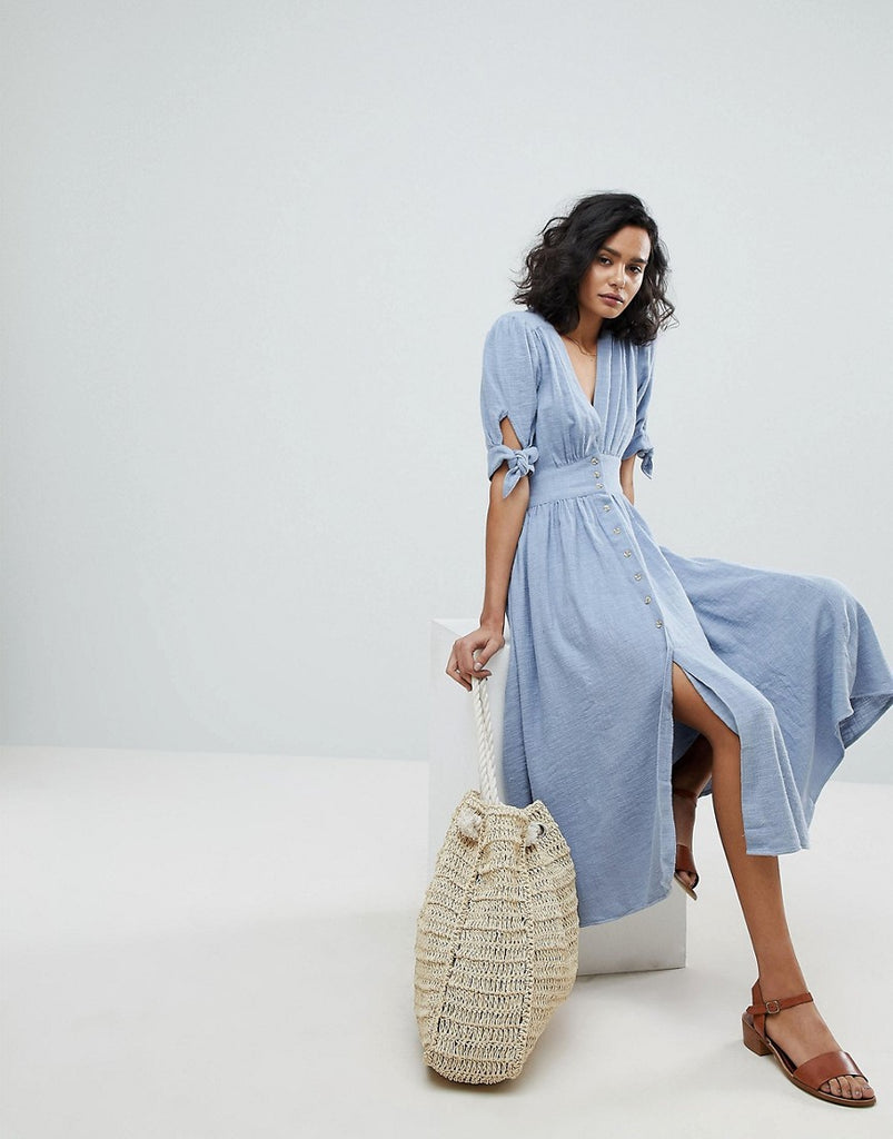 Free People Love Of My Life Midi Dress Blue Dresses247