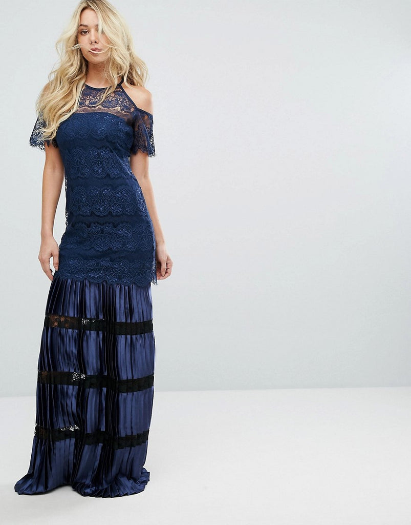 Bodyfrock Cold Shoulder Lace Maxi Dress With Pleated Skirt - Navy