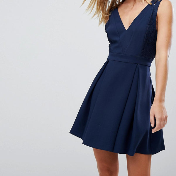 BCBGeneration Lace Mix Dress - Dark navy