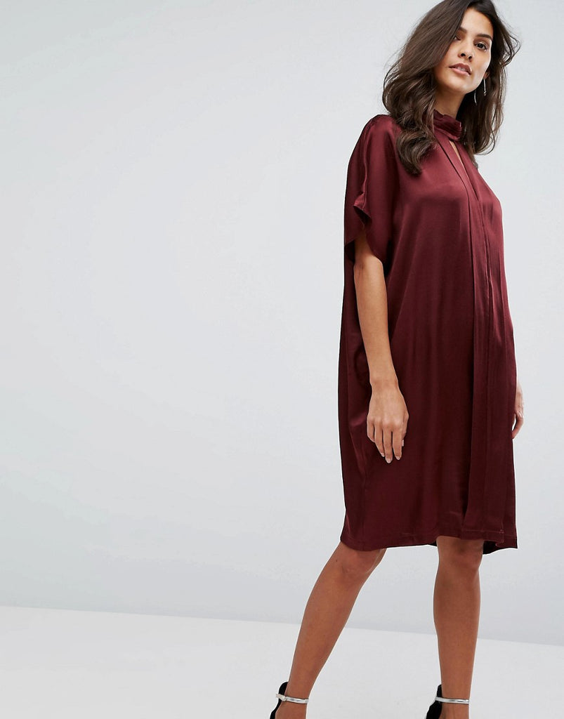 Y.A.S High Neck Satin Dress - Burgundy
