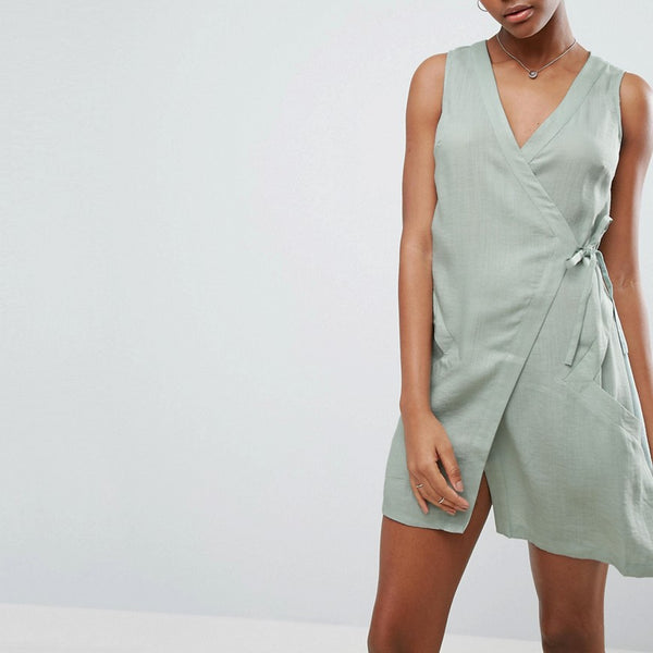 A State Of Being Vanish Wrap Dress - Eucalyptus