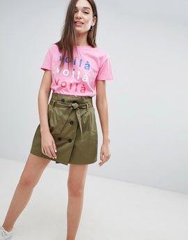 Bershka double breasted tie waist mini skirt in green - Green