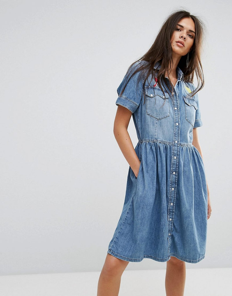 Diesel Denim Dress With Flare Skirt And Embroidery Light