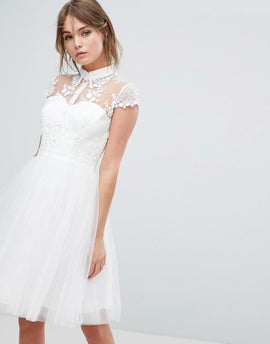 Chi Chi London Mini Tulle Skater Dress With Lace Collar - Ivory