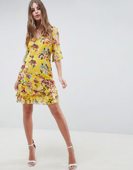 French Connection Floral Ruffle Dress - Citrus