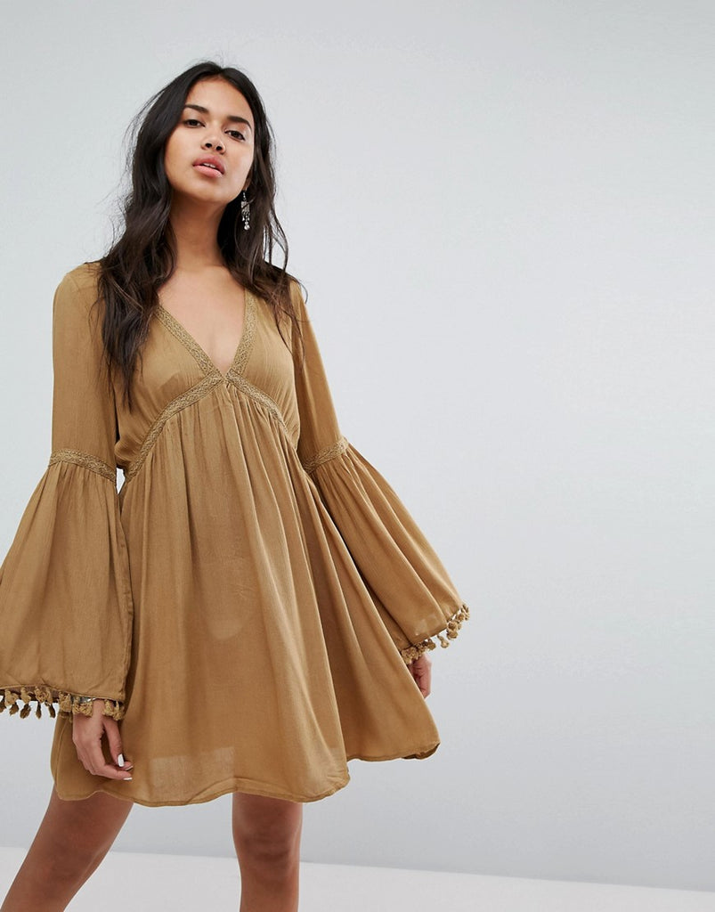 Lunik Bell Sleeve Tunic Dress With Trim - Camel