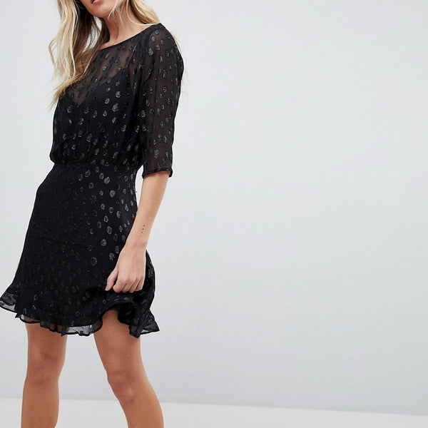 Isla The Resistence Sheer Skater Dress - Black