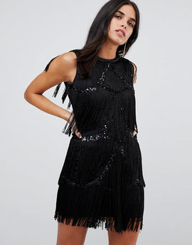 A Star Is Born Frayed Embelished Mini Dress - Black
