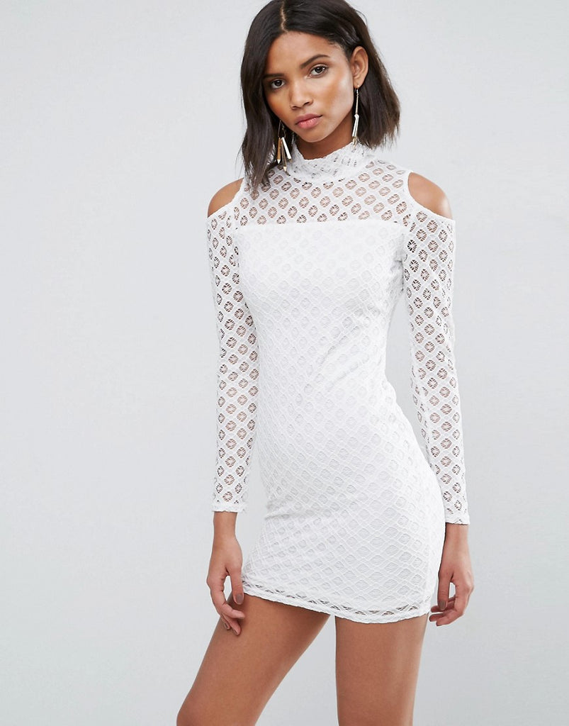 AX Paris Cold Shoulder All Over Lace Dress - Cream