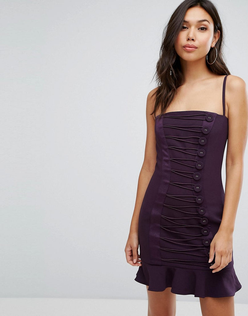 Misha Collection Button Detail Mini Dress With Frill Hem - Plum