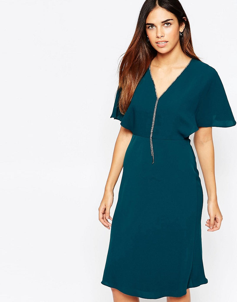 Warehouse Diamonte V Front Mini Dress - Green