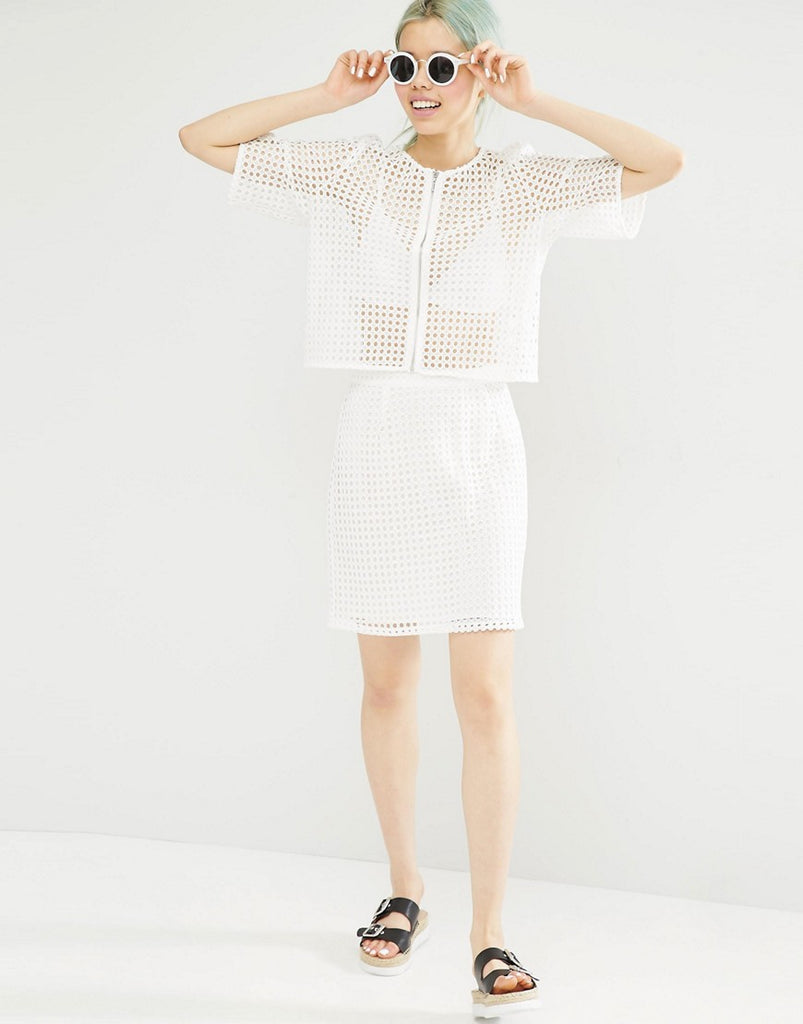Monki High Waisted Lace Crochet Skirt - White