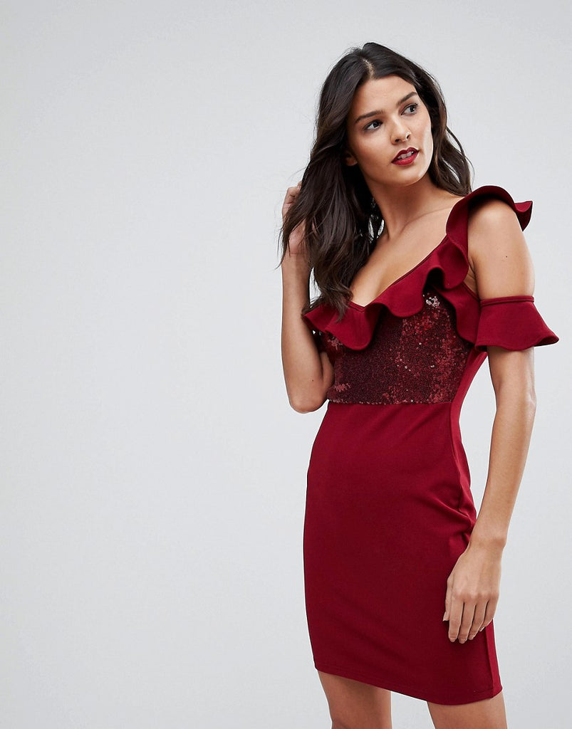 NaaNaa Frill Detail Mini Dress in Sequins - Burgundy