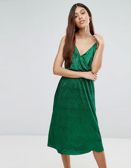 Zibi London Metallic Wrap Cami Midi Dress - Green
