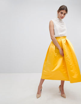 Closet London London Full Prom Sateen Midi Skirt - Yellow