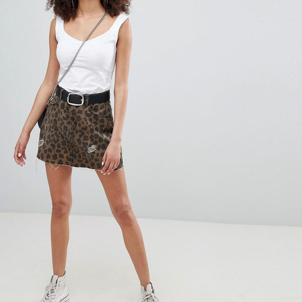 Bershka leopard print denim skirt - Multi