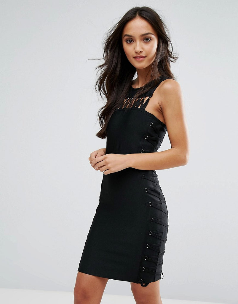 Love & Other Things Bodycon Dress With Cut Out Detail - Black