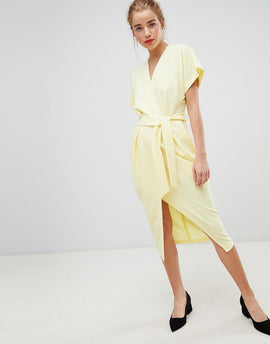 Closet London short sleeve tie front dress in lemon yellow - Lemon