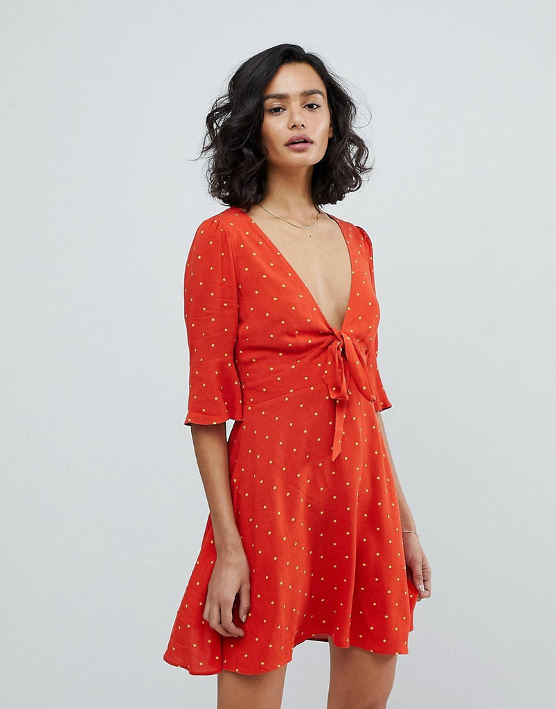 Free People All Yours Spot Mini Dress - Red combo