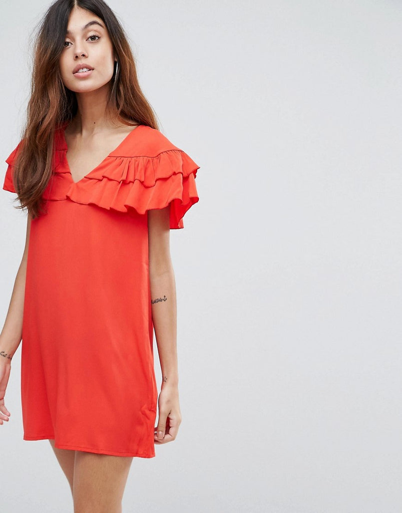 Vero Moda Ruffle Panel Dress - High risk red