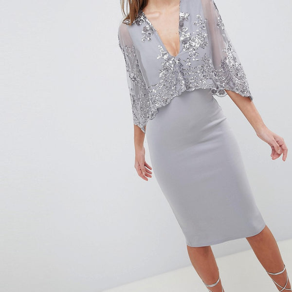 Club L Sequin Cape Overlay Scuba Midi Dress - Silver grey