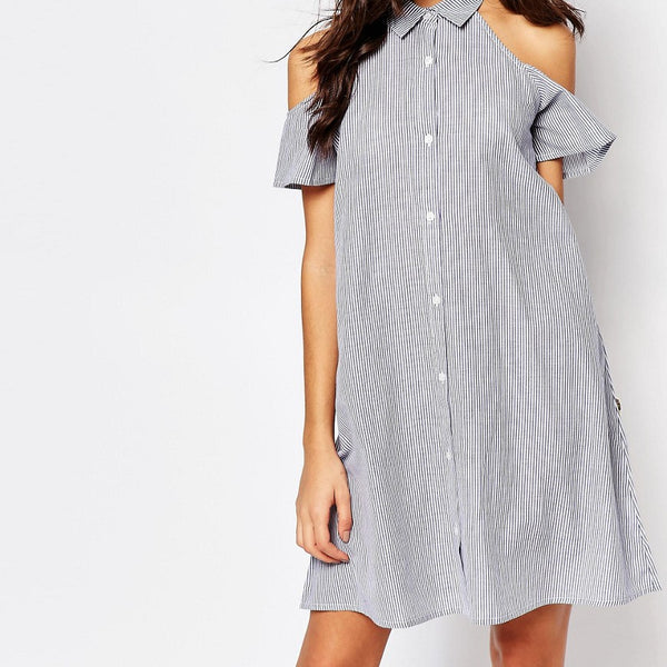 Influence Cold Shoulder Swing Shirt Dress - Blue