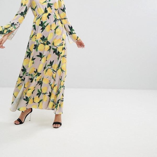Aeryne Maxi Dress with Split in Allover Lemon Print - Lemon print