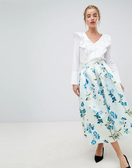 Closet London full prom midi skirt in floral print - Pale blue multi