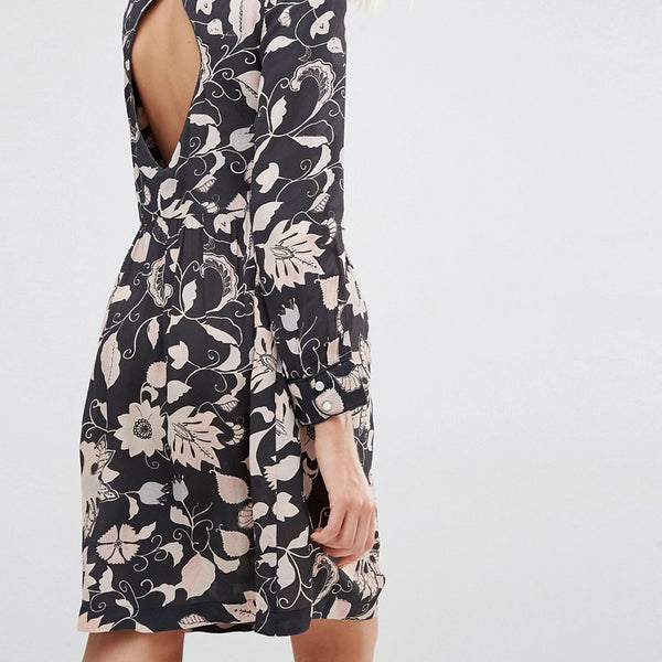 Gat Rimon Moco Open Back Long Sleeve Flower Print Dress - Noir