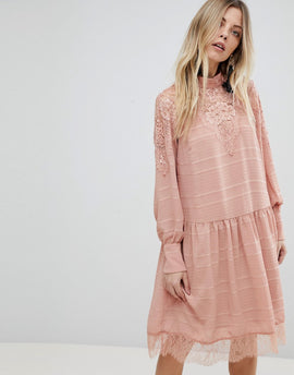Y.A.S Lace Detail Skater Dress - Pink
